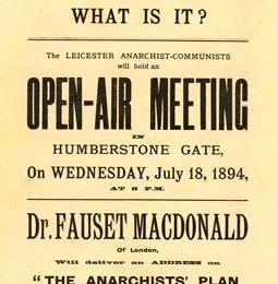 Flyer for an open-air meeting by Leicester Anarchist-Communists in 1894