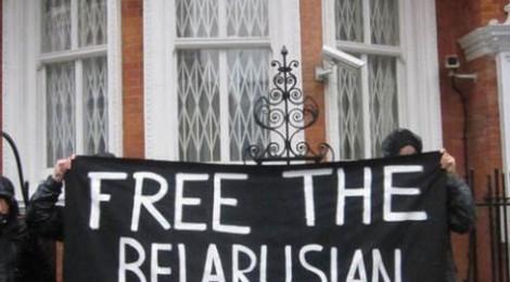 Anarchist Federation demonstration for Belarus prisoners 23 September 2012 - Belarus embassy