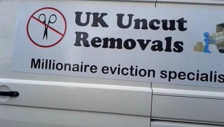 ukuncut white van on lord freud's street - millionaire eviction day of action 13 april 2013