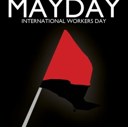 Mayday logo with Red and Black Anarchist Flag