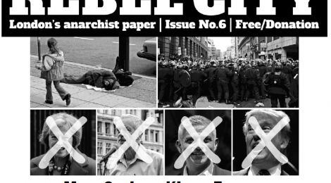Cover of Rebel City paper, issue 6 May 2017, by the Anarchist Federation London group