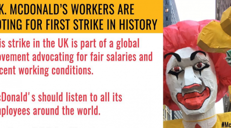UK McDonalds Workers on Strike - McStrike September 2017