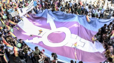Trans Pride Flag, an increasingly common sight at Queer, Anarchist and Feminist spaces