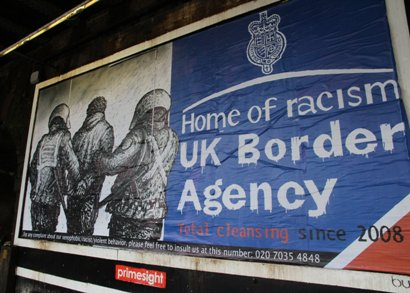 uk border agenda billboard 'home of racism'