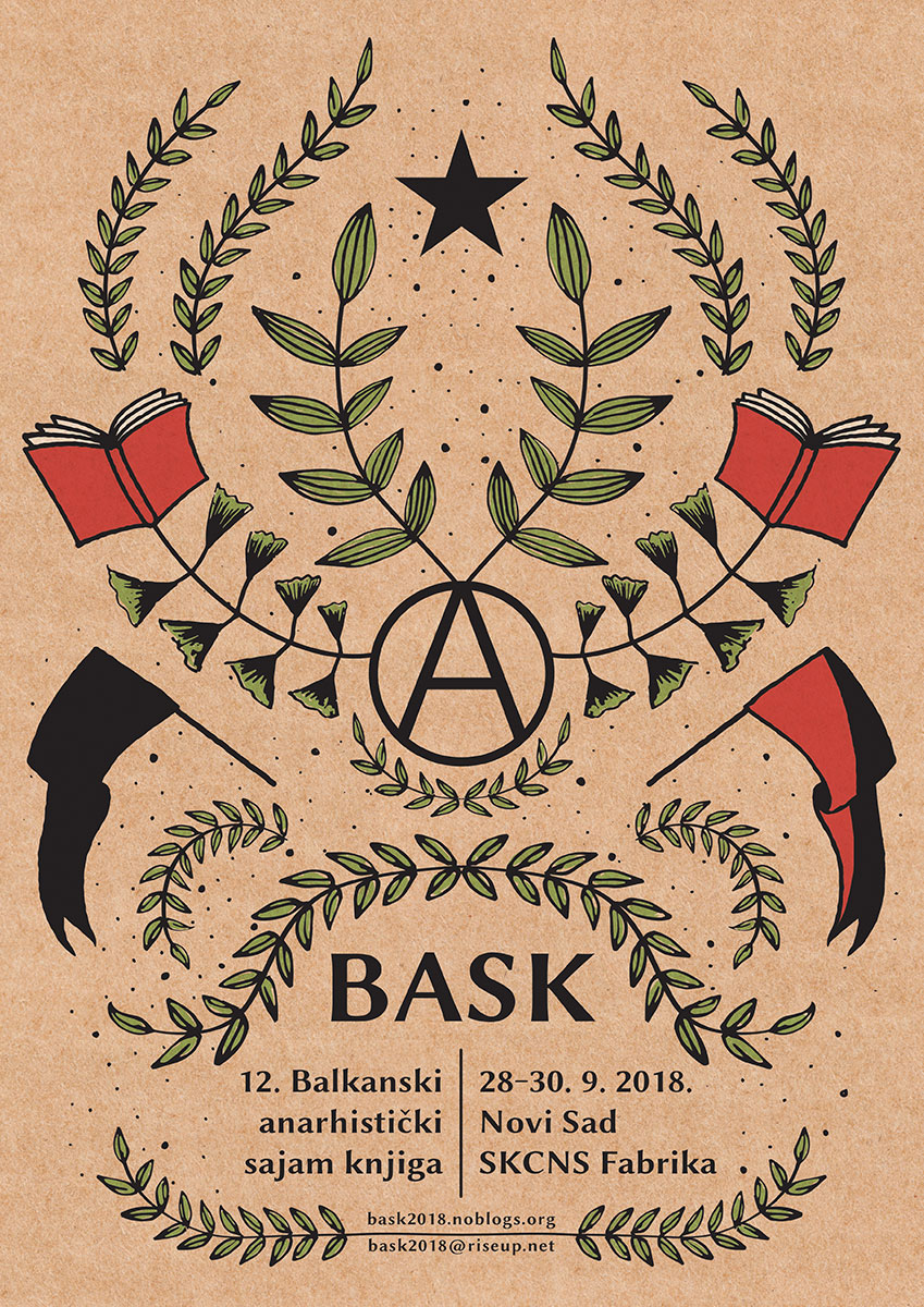 Poster for the 12th Balkans Anarchist Bookfair - Novi Sad, Serbia - September 2018