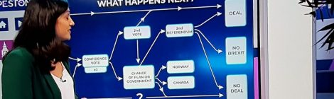 Peston photo from TV screen - Brexit vote options