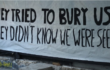 """Banner with slogan """"The tried to Bury us. They didn't know we were seeds."""" In solidarity with Exarchia Athens Eviction August 2019"""