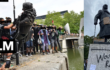 Photo montage of the Bristol and london Black Lives Matter statue direct action