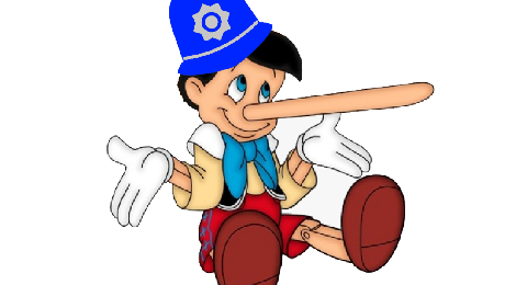 Cartoon pinochio wearing a police helmet, shrugging with a loooong nose.